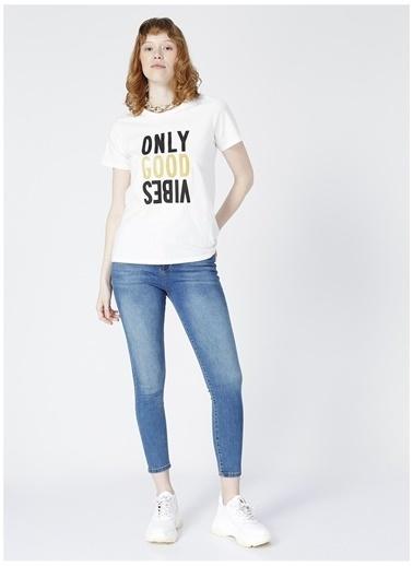Limon Company Limon Bera Ekru DİJİTAL Baskılı Kadın T-Shirt Ekru